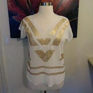 Worthington Gold Sequin Blouse (Petite)